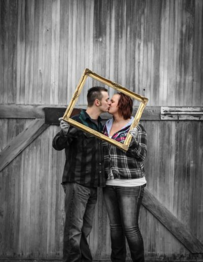Man and woman, kissing.